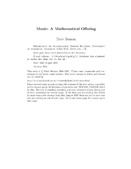 Benson Music A Mathematical Offering Aug 2007