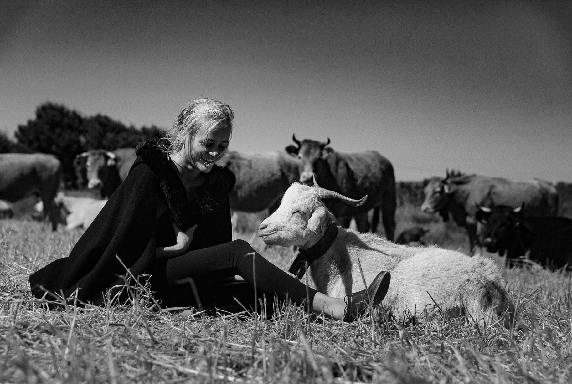 Яна на поле с пасущимися козлами и коровами / фото 01