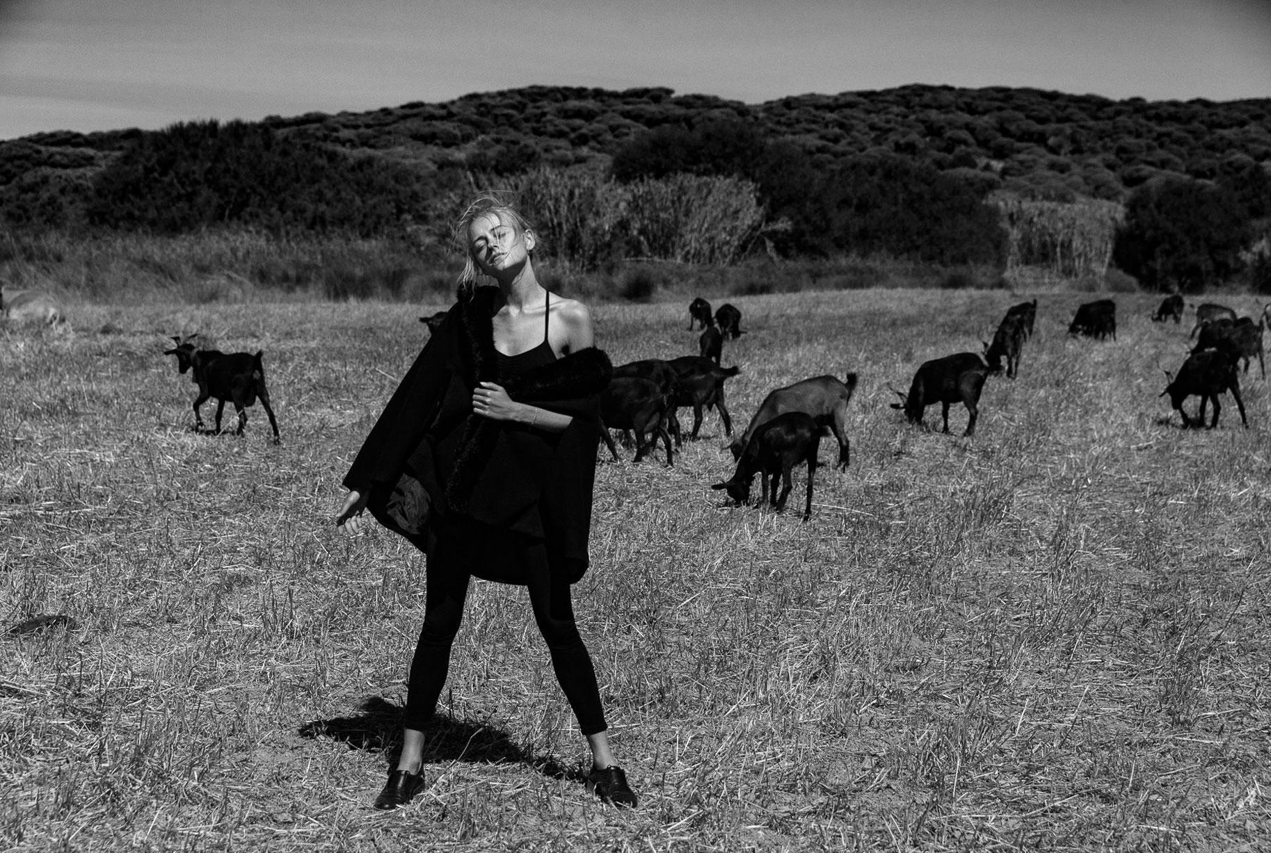 Яна на поле с пасущимися козлами и коровами / фото 02