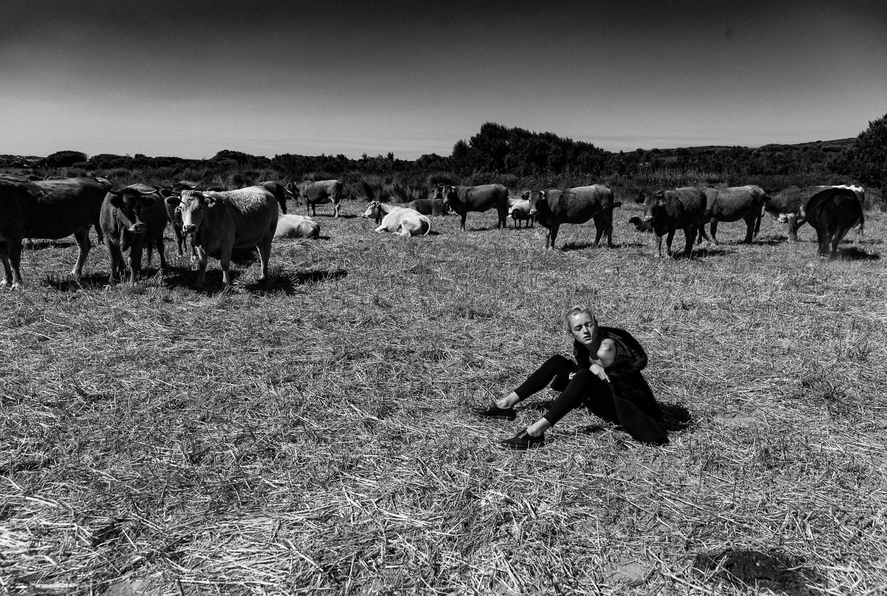 Яна на поле с пасущимися козлами и коровами / фото 10