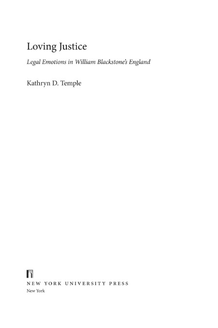 Loving Justice - Legal Emotions in William Blackstone's England [ENG]